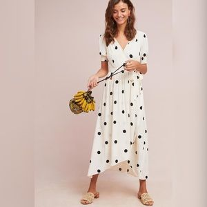 Anthropologie Breanna Polka Dot Wrap Dress